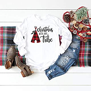 Long Sleeves For Womens, Christmas With My Tribe Long Sleeve Shirt - Buffalo Plaid Christmas Shirts - Family Matching Shirts, Cadino T Shirt Unisex, Tee Shirt For Men, Shirt For Womens