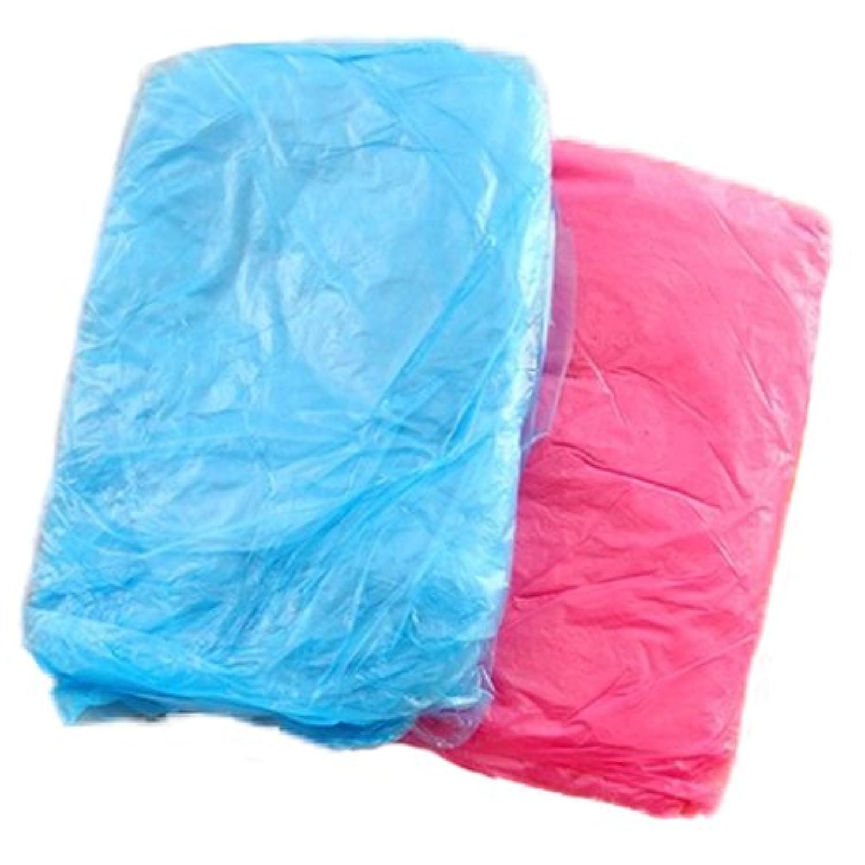 SODIAL 3 x 新しいランダムな色の使い捨てプラスチック製成人緊急防水レインコート フードポンチョ キャンプの為