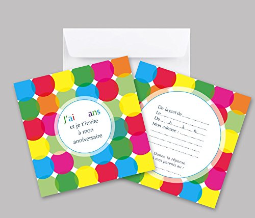 Lot de 5 cartes d'invitation anniversaire enfant ronds multicolores