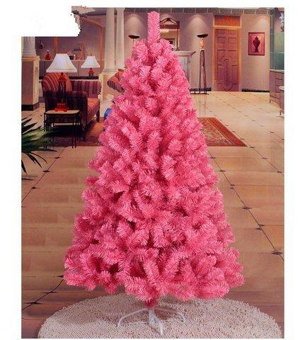 Gowe Dekorationsbaum Weihnachtsbaum Künstlicher Weihnachtsbaum Weihnachten PVC rosa dicke Blätter Ornamente 1,5 m