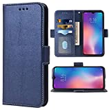 Phone Case for Xiaomi Mi 9 Folio Flip Wallet Case,PU Leather Credit Card Holder Slots Full Body Protection Kickstand Hard Hybrid Protective Phone Cover for Xiami Xiomis Xiome Mi9 M1902F1G Dark Blue
