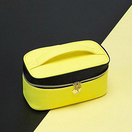 HUIJU Noir et Jaune Hit Couleur Sac cosmétique Mode Créative Corée Portable Petit Sac carré Haute capacité Portable Cas cosmétique Simple