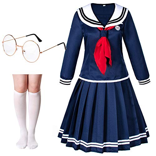 Classic Japanese Anime Kawaii Sailor Dress Skirt School Uniform Cosplay Costumes with Eyeglasses Socks Set(Tag S) Navy