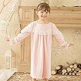 STJDM Bata de Noche,Vestido de niña de los niños Camisas de Dormir de Princesa de Franela Camisones de época Victorian Kid Thicken Camisón Lounge Ropa de Dormir SHeight95-105cm Pink