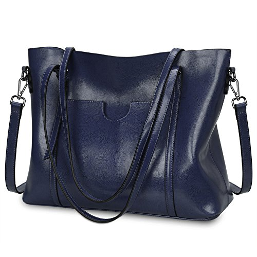 S-ZONE Women's Vintage 3-Way Genuine Leather Tote Shoulder Bag Handbag Fashion Handbag Messenger Bag ( Royal blue)(Size: L)