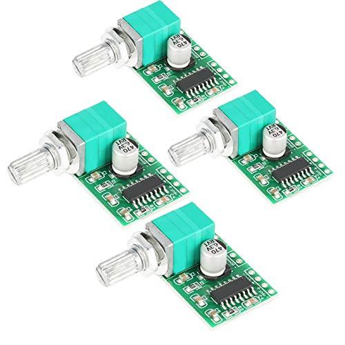 Mini placa amplificadora, 4 piezas PAM8403 Mini DC 5V amplificador de audio digital Placa de módulo de amplificador de potencia con potenciómetro e interruptor en sentido antihorario