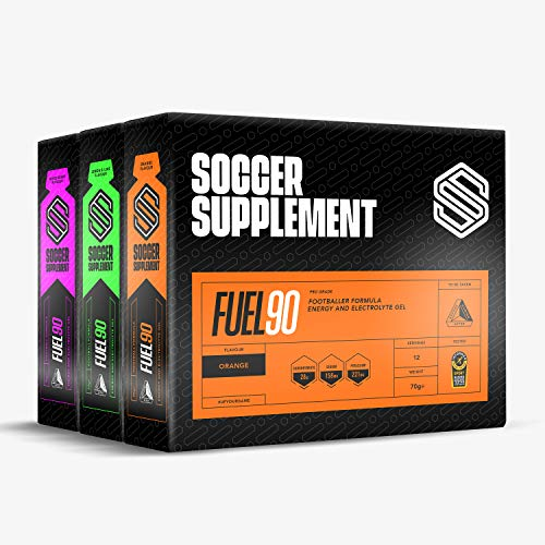 SOCCER SUPPLEMENT - Fuel90 - Energy Gel, Great Tasting Energy Gel with 380mgs of Electrolytes and a Dual Carbohydrate Source for Quicker Absorption - 36 Pack, Mixed Flavours