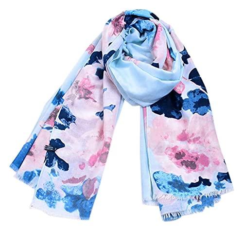Lzpzz Mujeres Bufandas, Moda Mujeres Flower Impresión Largo Soft Wrap Wrap Bufanda Mantón Shaf Bufanda Estabolas Thin Soft Show Long Wrap