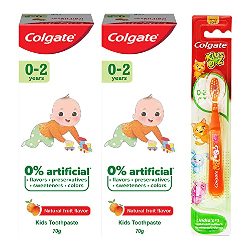 Colgate Kids Anticavity Toothpaste for 0-2 Years, 140g (70g x 2), Natural Fruit Flavour, 0% Artificial substances, SLS Free, Fluoride Free with Kid's Extra Soft Toothbrush (1 pc) (0- 24 months)