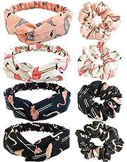 REYOK Vrouwen Hoofdband en haar Scrunchies,4 Stks Flamingo Gedrukt Twist Knoop Hoofdband,4 Stks Flamingo Patroon Haar Boog Chiffon Paardenstaart Houder,Leuke Haaraccessoires 8 Packs