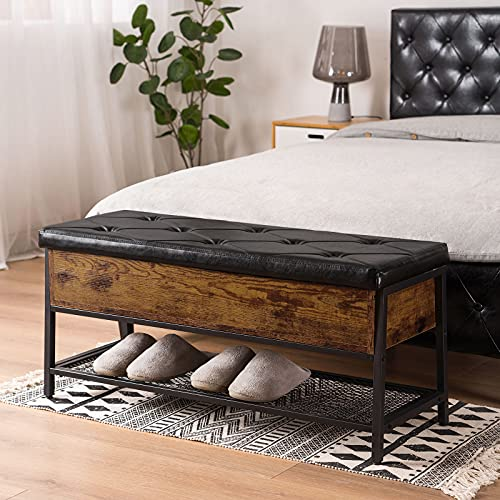 Apicizon Industrial Storage Bench, End of Bed Bench with Padded Seat and Metal Shelf, Shoe Storage Bench for Bedroom, Hallway, Living Room, Entryway, Rustic Brown