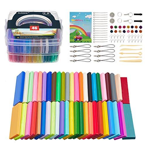 Polymer Ton - 46 Farben 2.8LB/1280g Polymer Clay Ofen Backen Bastelset Kinder und Werkzeuge,Modellierung Set DIY Basteln Scrapbooking für Kinder (46 Colour)