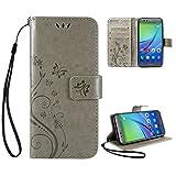 Coque Huawei P10 Lite Étui Gris , Leathlux Motif Housse en Cuir Case à Avec Dragonne rabat Coque de Intérieure Protection Souple Coque Portefeuille TPU Silicone Case Cover pour Huawei P10 Lite 5.2'