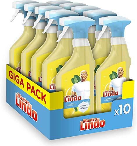 Mastro Lindo Universale Detersivo Multiuso Limone Spray, Maxi Formato 10 Pezzi da 500 ml, Rimozione...