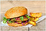 Wallario XXL Poster - Burger mit frischem Salat und Pommes