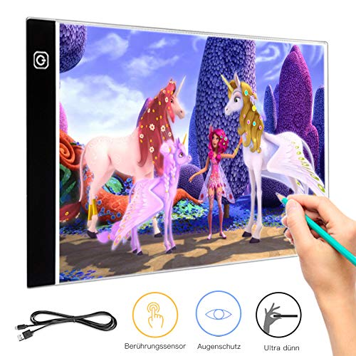 Warmiehomy Licht Pad A4 LED Leuchttisch Leuchtplatte Light Pad Tragbare LED Zeichnung Pad einstellbare Helligkeit Lichtkasten Malen licht für Kinder Copy Board mit 1.5 Meter USB Kable