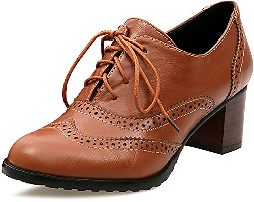 Odema Womens PU Leather Oxfords Wingtip Lace up Mid Heel Pumps Shoes … Brown