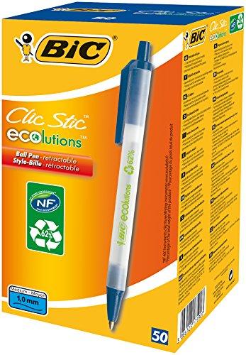 BIC Kugelschreiber ECOlutions Clic Stic, in Blau, Strichstärke 0,32 mm, 50er Pack, Ideal für das Büro, das Home Office oder die Schule