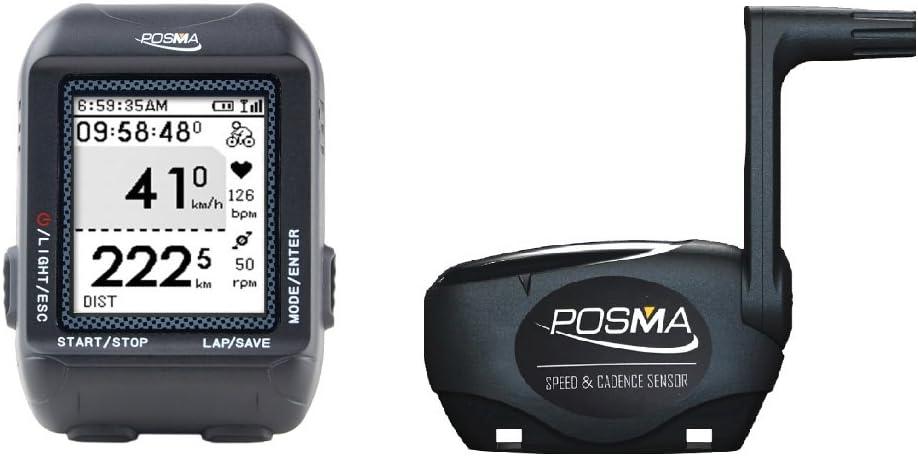 TRYWIN /POSMA D3 GPS para bicicleta, velocímetro de ordenador, cuentakilómetros, ANT+ soporte STRAVA MapMyRide (BHR20 Monitor de frecuencia cardíaca ...