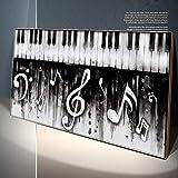 Modern Abstract Noir Piano Wall Art Canvas Painting Instrumentos musicales Posters e imágenes impresas para la decoración del aula de música 20x40cm (8x16in) con marco