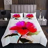 Loussiesd Colcha de flores acolchada abstracta de hibisco con estampado de pétalos románticos, multicolor, funda de cama con 2 fundas de almohada de 3 piezas