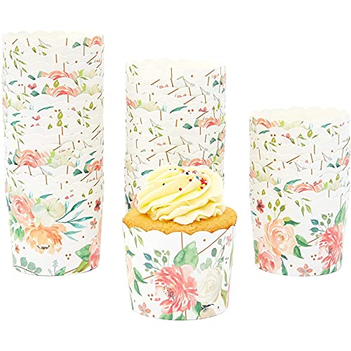 50-Pack Muffin Liners - Floral Watercolor Cupcake Wrappers Paper Baking Cups
