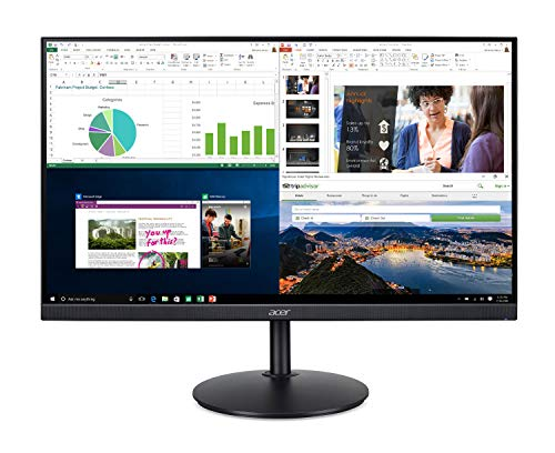 "Acer CB242Y bir 23.8"" Full HD (1920 x 1080) IPS Zero Frame Home Office Monitor with AMD Radeon Free Sync - 1ms VRB, 75Hz Refresh, Height Adjustable Stand with Tilt & Pivot (HDMI & VGA ports),Black"