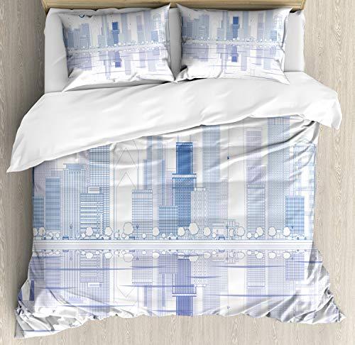 ABAKUHAUS Chicago Skyline Bettwäsche Set für Doppelbetten, Lake Michigan, Weicher Microfaserstoff Allegigeignet kein Verblassen, 230 x 220 cm, Blau und weiß