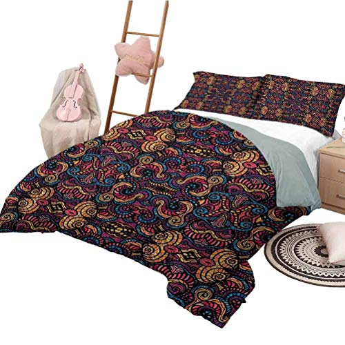 Bohemian Bedding Duvet Cover Set Hand Drawn Image with Oriental Rainbow Colored Floral Swirls Glass Pattern Image Duvet Cover Set & Pillowcase California King Size