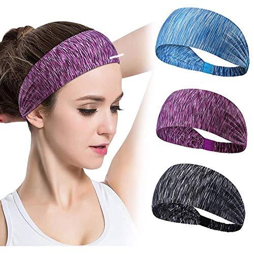 GoHZQ Frauen Sport Stirnband 3 Stück Anti Slip Elastic Sport Stirnband Sport Wicking Stirnband Frauen Schweißband Absorbierende Feuchtigkeit für Yoga Pilates Tanzen...