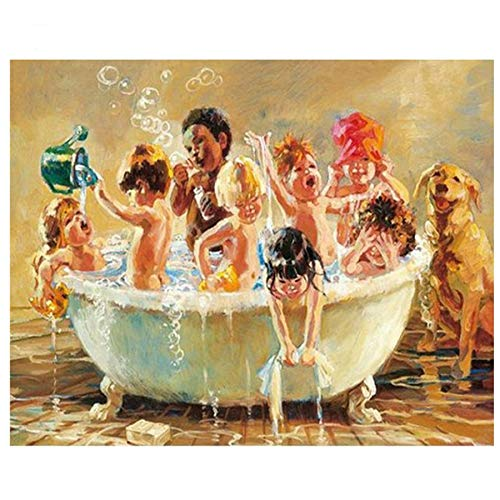JXLLCD 5D DIY Animal Children Bathing Square Round 3D Diamond Embroidered Painting Living Room European Fantasy Wall Decoration 30x35cm