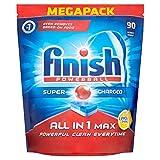 Finish - Pastillas para lavavajillas, todo en 1 máximo limón, 90 unidades
