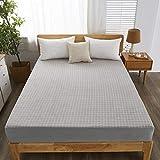 HAIBA Protector de colchón de microfibra acolchado, impermeable, antialergénico, totalmente ajustable (king), gris, 200 x 220 + 30 cm