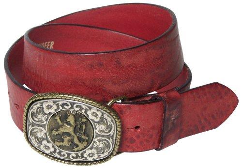 Fronhofer FRONHOFER Trachtengürtel Herren, bayerischer Löwe Gürtelschnalle mit Wappen, XXL, 17088, Größe:Körperumfang 100 cm / Gesamtlänge 115 cm, Farbe:Rot