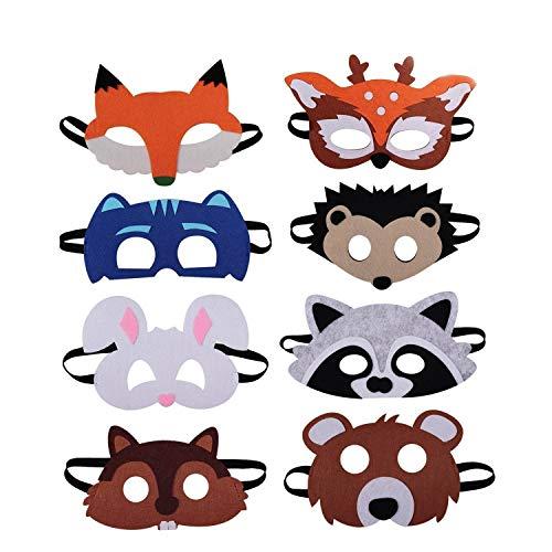 U&X Tiermasken Filz Tier Masks Halloween Maske Bauernhof-Tiere 8 Stück Ideal zum Kindergeburtstag und Karneval