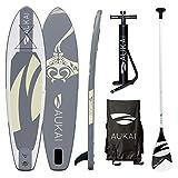 Aukai SUP Surfboard 320cm Manta Stand Up Paddle Board aufblasbar + Paddel Surfbrett Paddling Padde (grau)