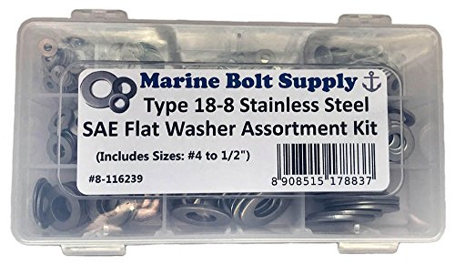 Stainless Steel SAE Flat Washer Assortment Kit by Marine Bolt Supply 8-116239