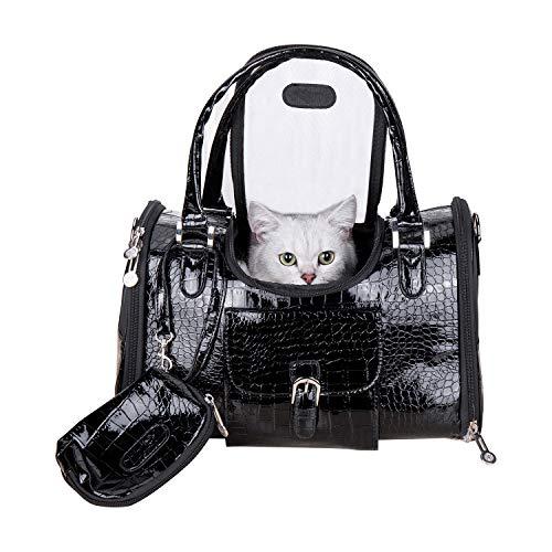 Dog Carrier PU Leather Dog Handbag Dog Purse Cat Tote Bag Pet Cat Dog Hiking Bag Travel Bag fits...