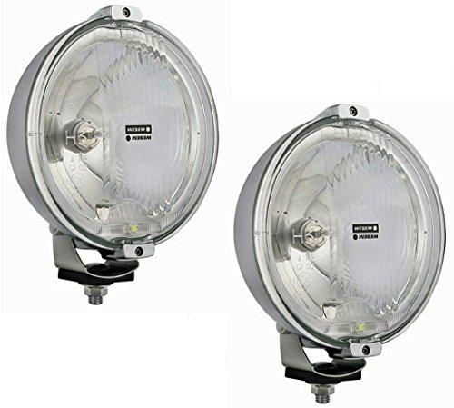 2x Chrom rund Fernscheinwerfer, Zusatzscheinwerfer mit 12V LED Ring Positionslicht