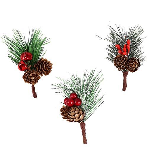 HEALLILY 15 Piezas de Cono de Pino Artificial Recoger Baya Roja de Navidad con Campana Relleno de Árbol de Navidad Rama de Flor de Acebo Tallos de Vacaciones para Decoración de Invierno