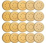 S SATC 100PCS 5 Inch Sanding Discs 60/80/120/150/220 Grits Gold Sanding Discs Hook and Loop 8 Holes Sandpaper Orbital Sander