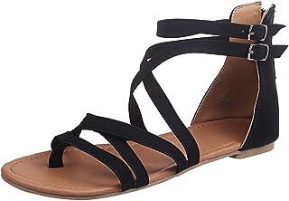comprar comparacion Luckycat Mujer Sandalias Planas Verano Tobillo Correa Hebilla Zapatillas Plataforma Zapatos Plano Cómodos con Cremallera S...