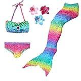 DAXIANG 3 Pièces Maillot de Bain Princesse Queue de Sirène Mermaid Bikini(Il y a la Boucle au Bas de la Queue,Pouvez Ouvrir pour Marcher ou Fermer pour Ajouter Monopalme)(10-12 Ans), Arc en Ciel