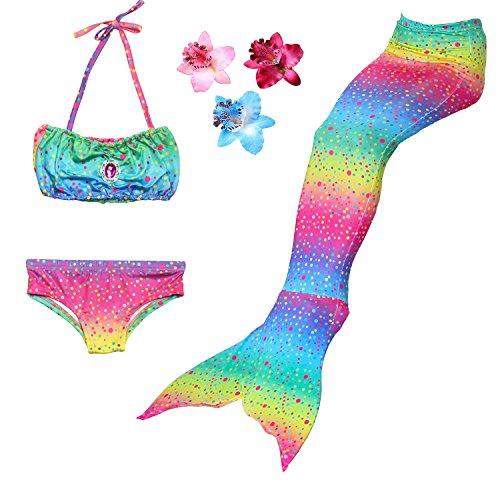 DAXIANG 3 Pièces Maillot de Bain Princesse Queue de Sirène Mermaid Bikini(Il y a la Boucle au Bas de la Queue,Pouvez Ouvrir pour Marcher ou Fermer pour Ajouter Monopalme)(8-9 Ans), Arc en Ciel