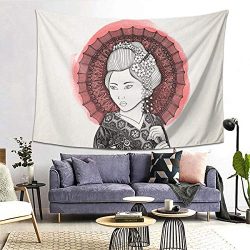 Japanese Flag and Geisha Tapestry Art Tapestry Handicraft Party Garland Event Banner and Home Decoration Decoration Banner Skin-Friendly