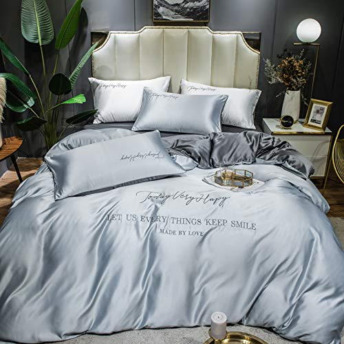 Juego de Ropa de Cama de Seda, Funda nórdica, Funda de Almohada Bordada, sábana de satén Color Claro Moderno Suave y cómodo, Azul Cielo (200 * 230 cm)