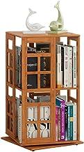 Jcnfa-Shelves Bookshelf Book Storage Three-Dimensional Space 2-Layer Rotating Bookshelf Adjustable Bamboo, one Multipurpose