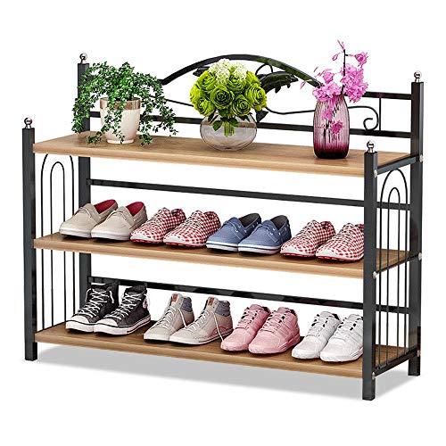 IBEQUEM Zapatero con 3 estantes, de metal gris plateado, zapatero, organizador de zapatos, para salón, vestidor, 81 x 56 x 24 cm (nogal nórdico)
