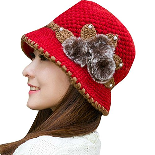 ESAILQ Mode Damen Winter Warm Crochet Strickblumen verziert Ohren Hut (Rot)