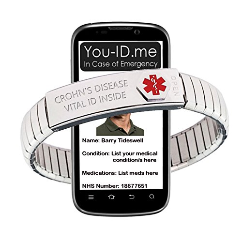 Crohn's Disease Alert Bracelet. Polished Medical ID Jewellery for Crohns. 100% Waterproof Insert Card. Fully updateable. Works with www.You-ID.me Emergency ID Alert Service (19cm Band)